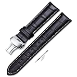 iStrap 21mm Alligator Grain Cow Leather Watch Band Strap W/Butterfly Deployment Buckle Black 21