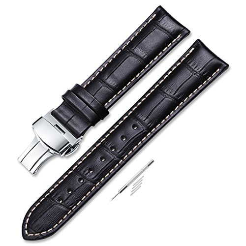 iStrap 21mm Alligator Grain Cow Leather Watch Band Strap W/ Butterfly Deployment Buckle Black 21 (Watch Millimeter Leather 21 Band)