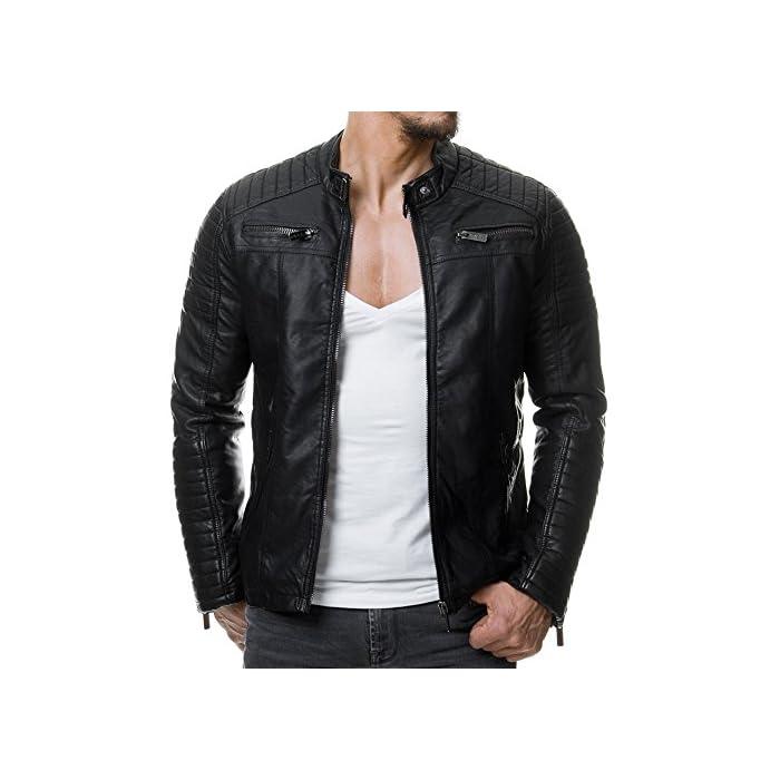 51uGloQb2ML Elegante chaqueta de cuero sintética para Hombres de la marca Red Bridge Chaqueta fresca con área acanalada a lo largo de las mangas 100% Poliuretano; Forro: 100% Poliéster