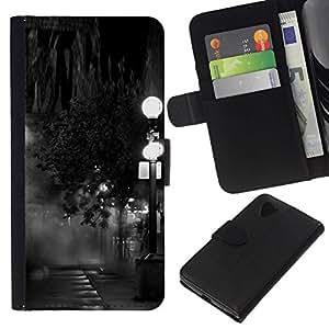 All Phone Most Case / Oferta Especial Cáscara Funda de cuero Monedero Cubierta de proteccion Caso / Wallet Case for LG Nexus 5 D820 D821 // Lamp Black White Photo Night