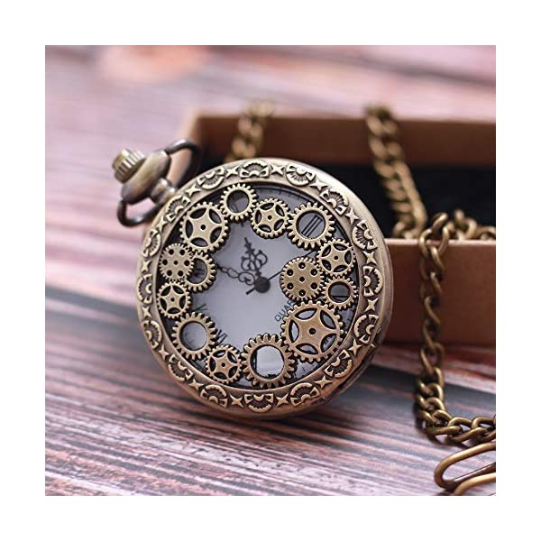1 x Vintage Pocket Watch with Chains Necklace,Steampunk Gear Hollow Quartz Pocket Watches for Men Women Xmas Birthday Gift Present 5