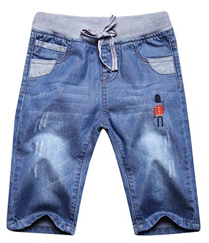 Capris Kids Denim - JiaYou Child Boy Mid Waist Elastic Straight Stretch Summer Capris Cropped Denim Jeans(B,8 Years)