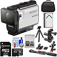 Sony Action Cam HDR-AS300 Wi-Fi HD Video Camera Camcorder with Flat Surface & Helmet Mounts + 64GB Card + Battery + Case + Flex Tripod + Kit