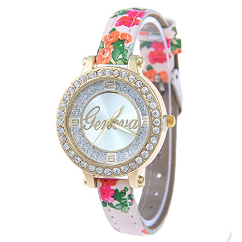Coin Studded (BEUU 2018 New Specials Printed Leather Belt With Glittering Diamond-Studded Geneva Ladies Watch Glitter Ladies' And Diamond Encrusted (F))