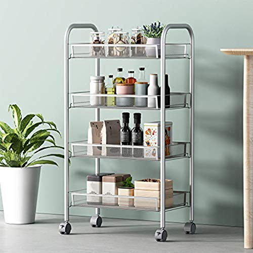 m·kvfa Easy Moving 4-Tier Mesh Wire Basket Rolling Cart Kitchen Storage Cart with Wheels Shelving Suitable for Kitchen Living Room Study ()