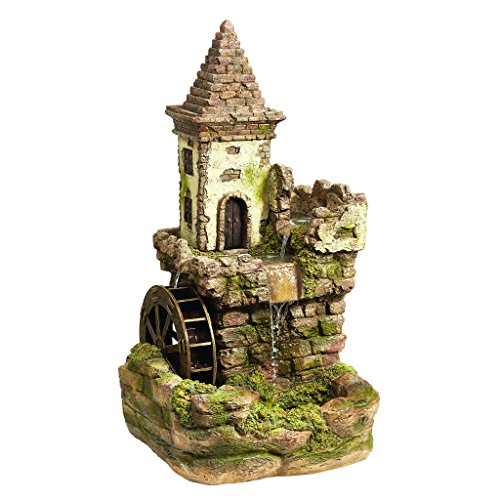 - Water Fountain - Nearly 3 Foot Tall Fairy Village Waterwheel Garden Decor Fountain - Outdoor Water Feature