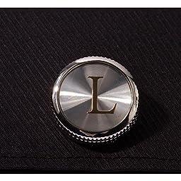 HJ Men\'s 2PCS Fashion Dazzle Tuxedo Shirts Platinum Plated Cufflinks Initial Letter 2 Color A-Z (silver L)