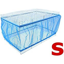Topsair Seed Catcher for Bird Cages Outdoor Feeders Parrot Net Cover Up Dress Large Nylon Soft Ventilation Sheer Guard Bird Cage Accessories S Blue