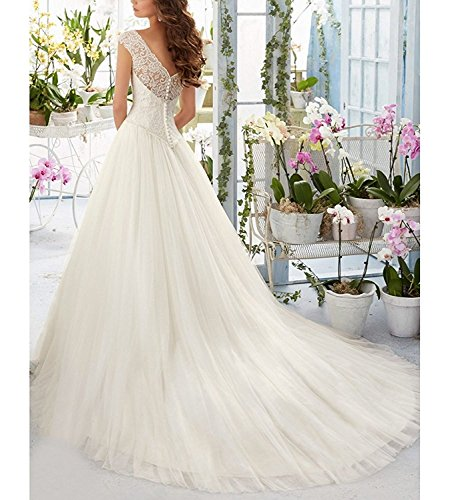 Simple Elegant Tulle A Line Scoop Neck Cap Sleeves Lace: Firose Simple Long A-Line Cap Sleeve Train Lace Wedding