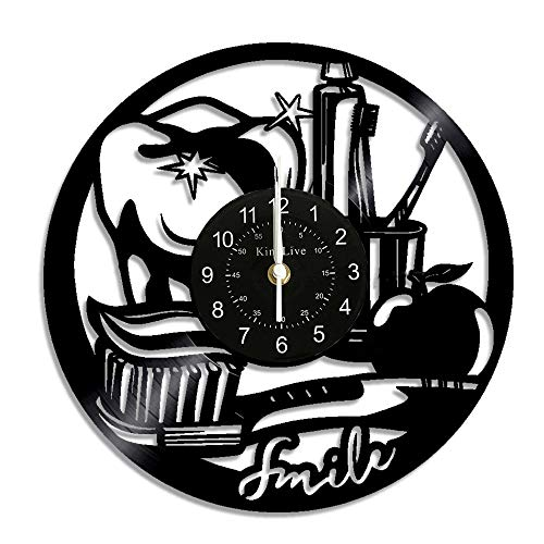 Smile Teeth Dental Dentist Vinyl Wall Clock Modern Design Funny Dental Vinyl Record Wall Clock Home Decor Vintage Wall Watch Best Gift for Dentist