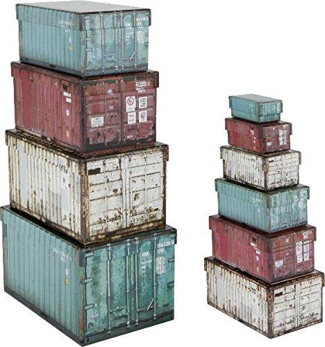 Home Collection Mobili Decorazione Organizzazione Set di 10 Scatole di Cartone Motivo Container Industriali ca 25 x 17 x 15 cm a 8,5 x 4 x 3 cm