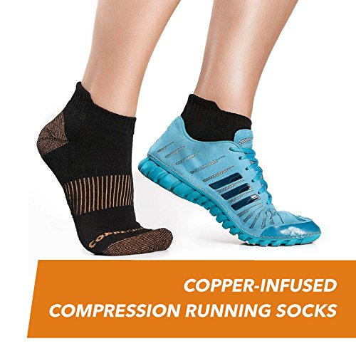 CopperJoint Copper-Infused Short Compression Running Socks, Pair (Large/X-Large)