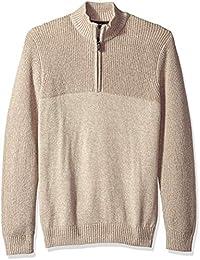 Men's Saltwater Long Sleeve 1/4 Zip Mock Neck Solid Sweater