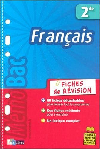Livre gratuits Français 2e : Fiches de révision pdf ebook