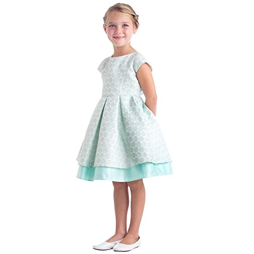 6f0a5904579a3 Sweet Kids Little Girls Mint Polka Dot Pleated Jacquard Satin Easter Dress 2