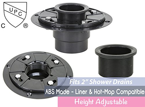 2 Inch ABS Shower Drain Base Flange For Shower Linear Drain - Threaded Adjustable Adaptor Included