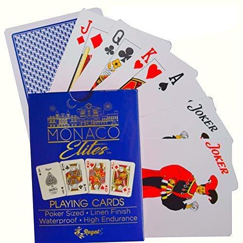Regal Games Monaco Elite 100% Plastic Premium Waterproof Poker Size Playing Cards (Blue)