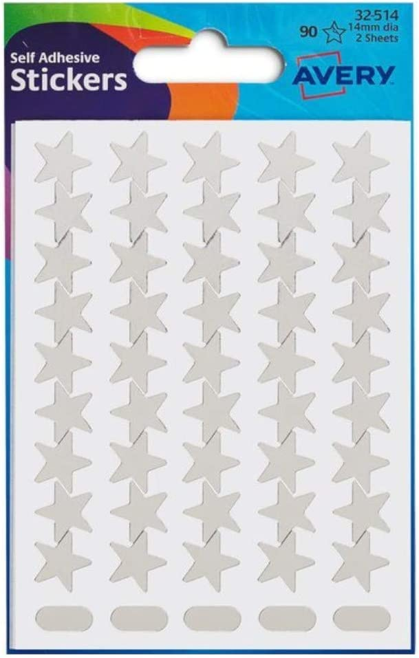 2pk 90 14mm Silver Star Stickers