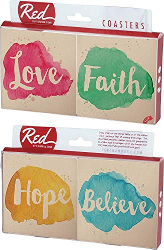 CELYCASY Faith and Believe Splotch Paint Design 4 Piece Absorbent Ceramic Coaster Set by CELYCASY