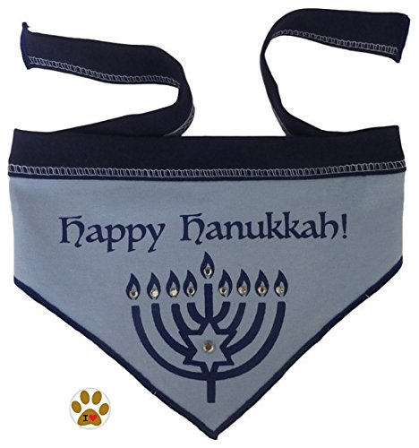 """Happy Hanukkah - Holiday Blue Scarf Bandana with Pin for Dogs- Sizes Small thru Large (Small fits Neck 8""""-14"""", Blue/Silver)"""