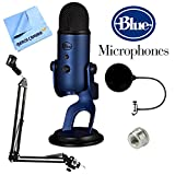 BLUE MICROPHONES Yeti USB Microphone Four Pattern Midnight Blue (Yeti Midnight Blue) + Suspension Boom Scissor Arm Stand + Microphone Wind Screen + Mic Stand Adapter + MicroFiber Cloth