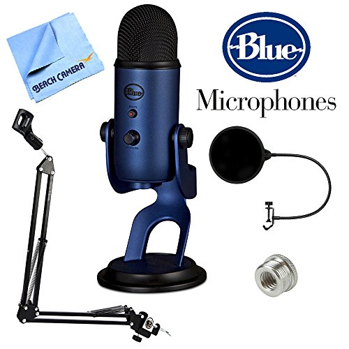 Price comparison product image BLUE MICROPHONES Yeti USB Microphone Four Pattern Midnight Blue (Yeti Midnight Blue) + Suspension Boom Scissor Arm Stand + Microphone Wind Screen + Mic Stand Adapter + MicroFiber Cloth