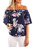 Happy Sailed Women Summer Off Shoulder Floral Print Blouse Short Sleeve Sexy Tops Casual Shirt X-Large Blue