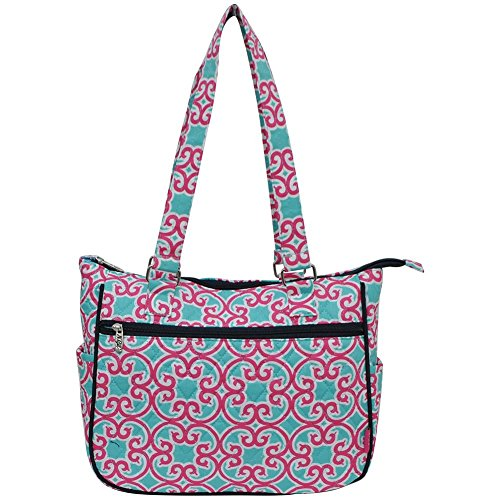 Ngil Quilted Cotton Shoulder Bag (Geo Turquoise Pink)