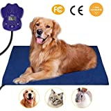 PETBROO Heating Pads for Pets, 2018 Upgraded Electric Heating Pad for Dogs &Cats Warming Dog Beds Pet Mat Activated with Chew Resistant Cord Soft Removable Cover 25.5x15.7IN Blue