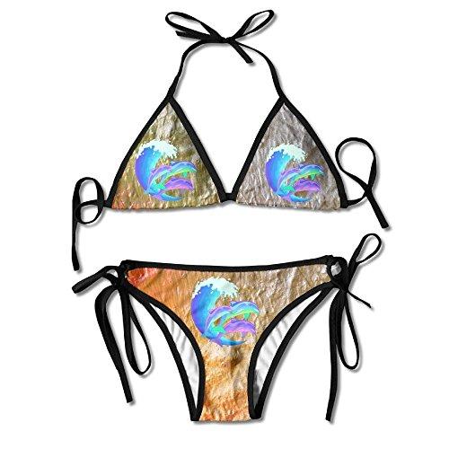 Noble Shop Psychedelic Dolphins Bikini Halter Racerback Swimsuit Beachwear by Noble Shop