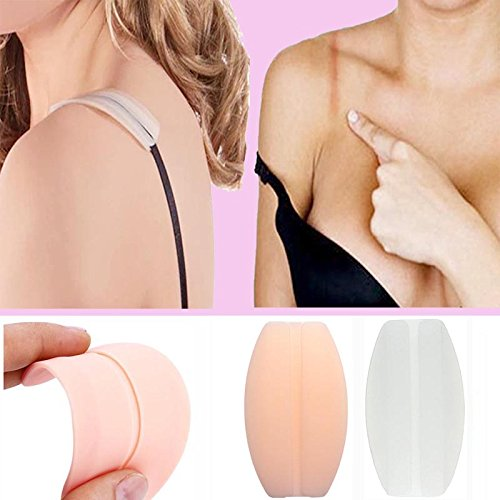 Silicone Bra Strap Cushions Soft Holder Non-slip Shoulder Protectors Pads 2 Pairs … (White&Nude)