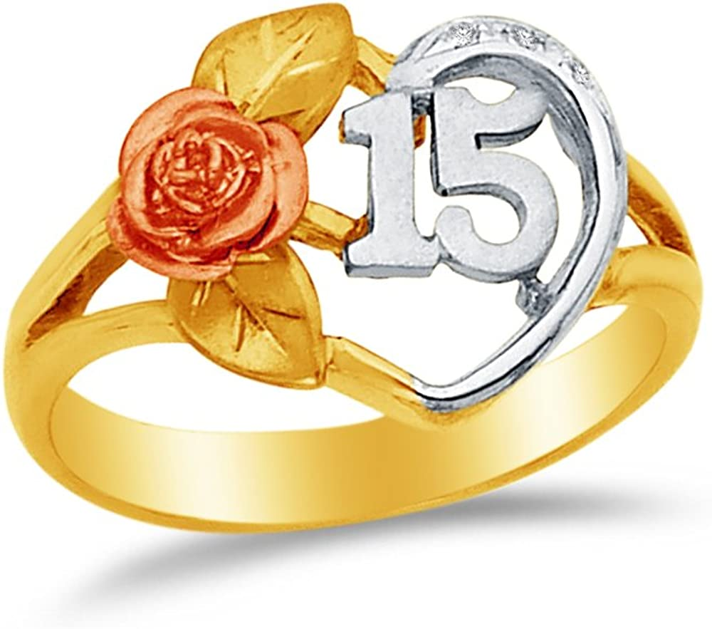 Jewel Tie Solid 14k Rose Yellow /& White Gold 15 Years Birthday Heart Ring 9 Size