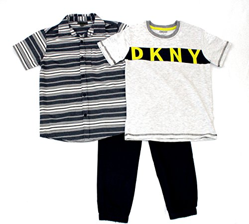 DKNY Boys 3PC Pant Set, Block Letters (Dkny Kids Clothing)
