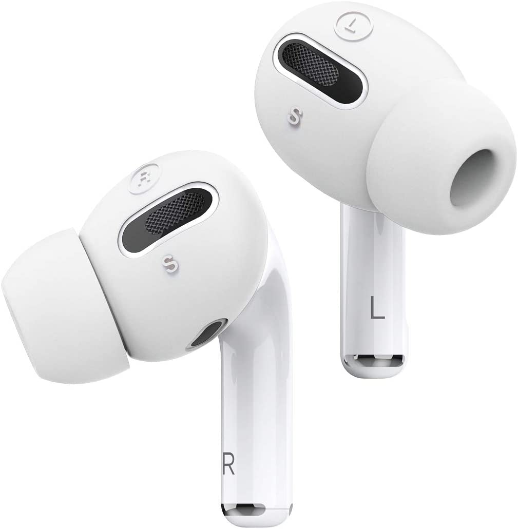 elago AirPods Pro Earbuds Cover Plus with Integrated Tips Designed for Apple AirPods Pro [Fit in The case] [6 Pairs: 2 Large + 2 Medium + 2 Small] (White)