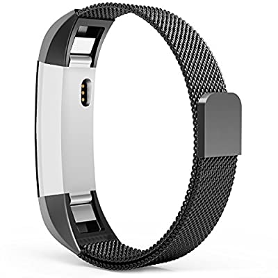 Fitbit Alta Bands, Fitbit Alta HR Bands, Milanese Loop Stainless Steel Metal Replacement Wristbands Straps, Bracelet Accessories Band with Unique Magnetic Closure Clasp, Silver, Black, Gold