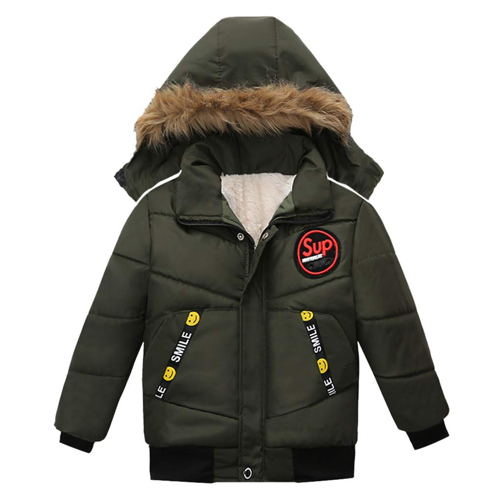 Gallity Toddler Baby Boys Autumn Winter Down Cotton Jacket Overcoat Hooded Thickened Coat Warm Snowsuit Thick Outerwear Clothes 1-3T (1T, Army Green) by Gallity Baby Coat