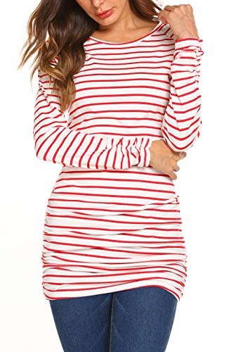 OURS Womens Basic Slim Fit Long Sleeve Striped T Shirt Dress Ruched Tunic Tops … (L, Red)