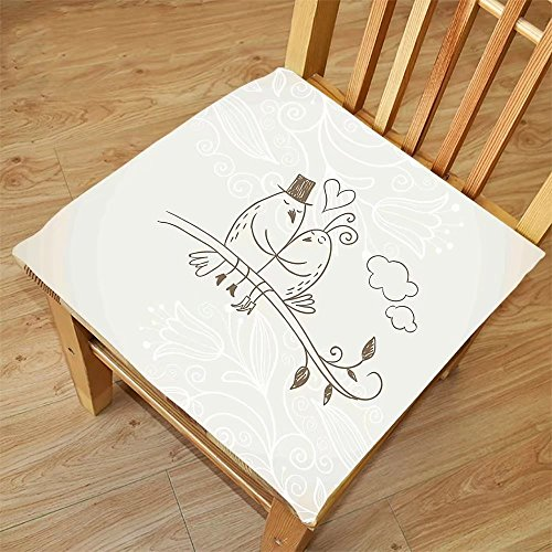 Nalahome Set of 2 Waterproof Cozy Seat Protector Cushion Wedding Decorations Romantic Hand Drawing of a Two Birds on Branch In Love Husband Wife Silver White Printing Size - Step Sunglasses Drawing Step By