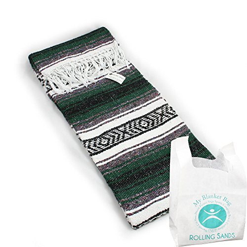 Hand Woven Classic Mexican Yoga Blanket and Rolling Sands Reusable Blanket Bag