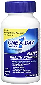 One-A-Day Multivitamin, Men's Health Formula , 200 Tablet Bottle - Buy Packs and SAVE (Pack of 3)