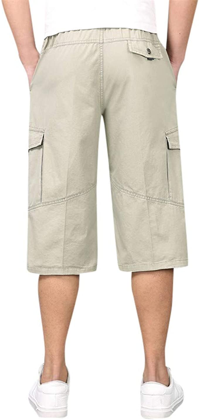 XQXCL Mens Shorts Summer Solid Color Loose Casual Multi-Pocket Tooling Pants