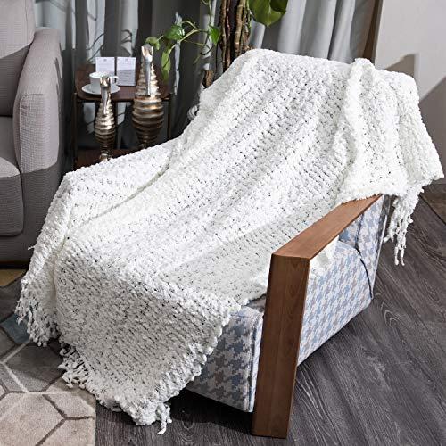 ENJOEE Super Soft Warm Elegant Cozy Hollow Pattern Chenille Throw Blanket Lightweight 60
