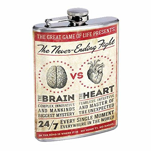 正規品販売! Perfection Heart Inスタイルステンレススチールフラスコ8オンスビンテージポスターd-212 The Never The Ending Fight The Ending Brain vs The Heart B016B7JJFW, 花と緑の専門店 土っ子倶楽部:9c4dbb0b --- domaska.lt