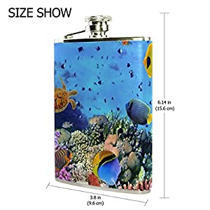 ALAZA Fish Coral Colony Red Sea 8oz Pocket Flask Stainless Steel Liquor Hip Flask PU Leather Wraped Cool Wiskey Wine Pot Flagon for Men Women Gift