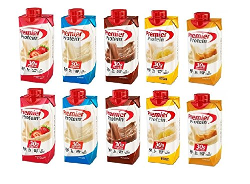 Premier Protein 30g High Protein Shake, Chocolate, Strawberry, Vanilla, Banana and Caramel, 2 of each Flavor 11 Oz. With Bones of 10 Individually Wrapped Straws…