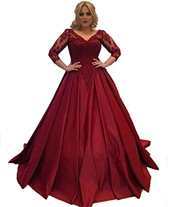 622ccc28cb Nina Ding Lace Long Sleeves Prom Dresses V Neck Satin Ball Gown Formal  Evening Dress NND028