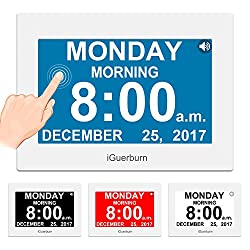 iGuerburn Talking Day Clock 8 Large Display Touchscreen Dementia, Seniors, Alzheimer's, Elderly, Visually Impaired, Memory Loss, Digital Calendar Date Time, 8 Alarms, Manual Dim