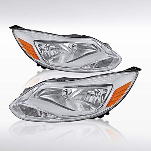 Autozensation Ford Focus Euro Chrome Amber Headlights Head Lamps w/Amber Reflector