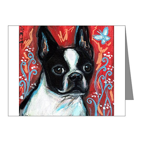 CafePress - Portrait of smiling Boston Terrier Note Cards (Pk - Blank Note Cards (Pack of 20) Glossy