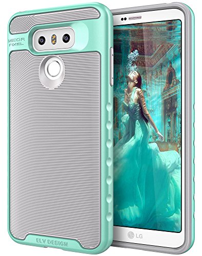 Price comparison product image LG G6 Case, E LV LG G6 - Hybrid [Scratch/Dust Proof] Armor Defender Slim Shock-Absorption Bumper Case for LG G6 (2017) - [GREY/MINT]
